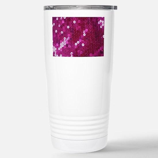 Pink Sequins Print Stainless Steel Travel Mug