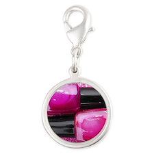 Pink Nail Polish Silver Round Charm