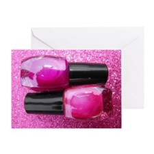 Pink Nail Polish Greeting Card