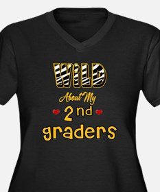 Wild About my 2nd Graders Women's Plus Size V-Neck
