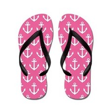 Cute Pink Sailing Anchor Flip Flops