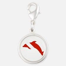 Dolphin Diver Silver Round Charm