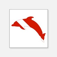 "Dolphin Diver Square Sticker 3"" x 3"""