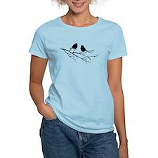 Two Little white Sparrow Birds Black silhouette T-