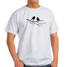 Two Little white Sparrow Birds Black silhouette T-