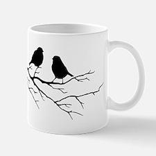 Two Little white Sparrow Birds Black silhouette Mu