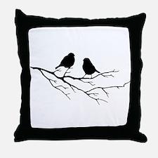 Two Little white Sparrow Birds Black silhouette Th