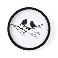 Two Little white Sparrow Birds Black silhouette Wa