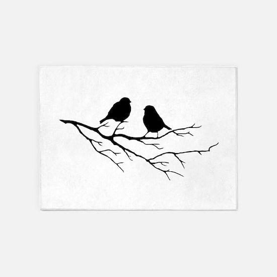 Two Little white Sparrow Birds Black silhouette 5'