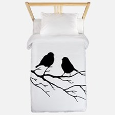 Two Little white Sparrow Birds Black silhouette Tw