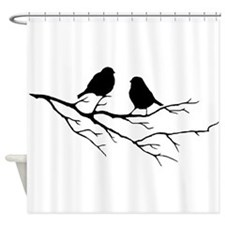 Two Little white Sparrow Birds Black silhouette Sh