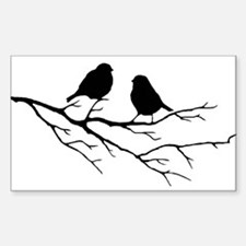 Two Little white Sparrow Birds Black silhouette St