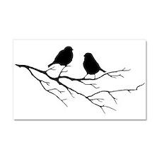 Two Little white Sparrow Birds Black silhouette Ca