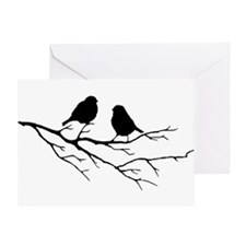 Two Little white Sparrow Birds Black silhouette Gr