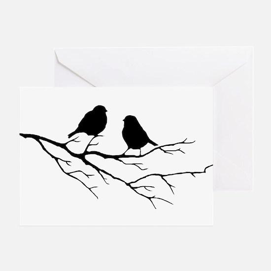 Two Little white Sparrow Birds Black silhouette Gr