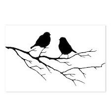 Two Little white Sparrow Birds Black silhouette Po