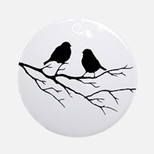 Two Little white Sparrow Birds Black silhouette Or