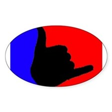Blue/Red Shaka Oval Decal