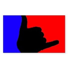 Blue/Red Shaka Rectangle Decal