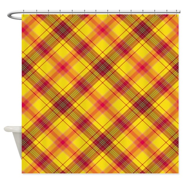 Checkered Red Yellow Shower Curtain By Mehrfarbeimleben