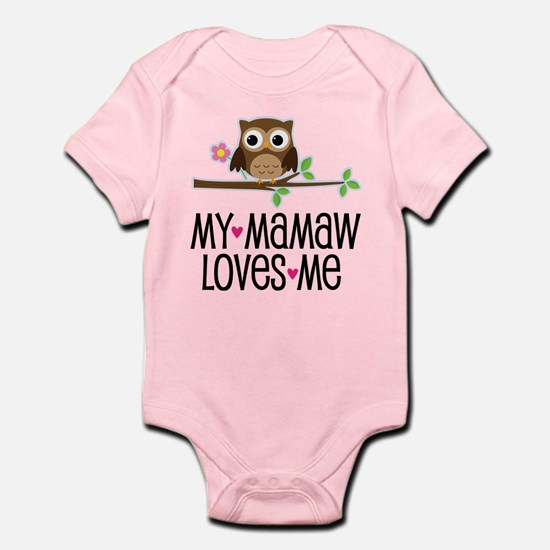 Mamaw Loves Me Girls Owl Body Suit