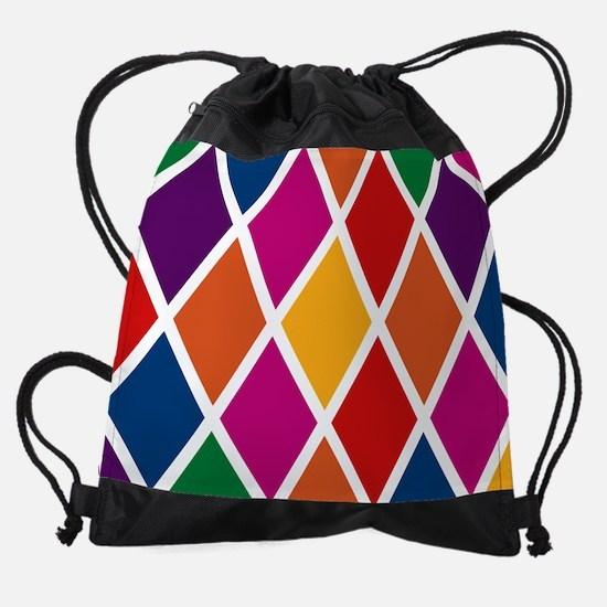 Colorful Harlequin Pattern Drawstring Bag