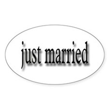 Just Married #5 Oval Decal