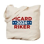 Star Trek Picard Riker 2016 Tote Bag - This funny election design is for fans of Star Trek The Next Generation. Vote Picard/Riker in 2016!