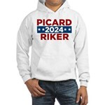 Star Trek Picard Riker 2016 Hoodie - This funny election design is for fans of Star Trek The Next Generation. Vote Picard/Riker in 2016! - Availble Sizes:Small,Medium,Large,X-Large,2X-Large (+$3.00) - Availble Colors: White,Heather Grey