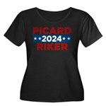 Star Trek Picard Riker 2016 Plus Size T-Shirt - This funny election design is for fans of Star Trek The Next Generation. Vote Picard/Riker in 2016! - Availble Sizes:1 (16/18),2 (20/22),3 (24/26),4 (28/30),5 (32/34) - Availble Colors: Black,Navy