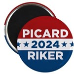 Star Trek Picard Riker 2016 Magnets - This funny election design is for fans of Star Trek The Next Generation. Vote Picard/Riker in 2016!