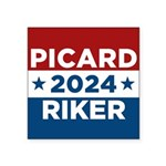 Star Trek Picard Riker 2016 Sticker - This funny election design is for fans of Star Trek The Next Generation. Vote Picard/Riker in 2016! - Availble Sizes:Small - 3x3,Large - 5x5 (+$1.50) - Availble Colors: White,Clear