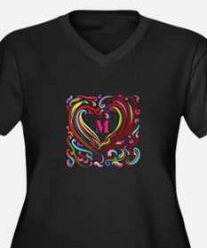 Monogrammed Art Heart Plus Size T-Shirt