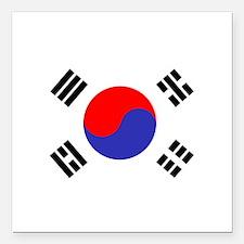 """Flag South Korea Square Car Magnet 3"""" x 3"""""""