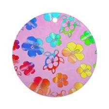 Pink Tie Dyed Honu Ornament (Round)