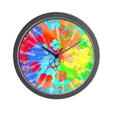 Tie Dyed Honu Wall Clock