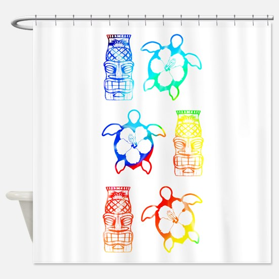 Tropical Honu And Tiki Shower Curtain