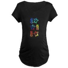 Tropical Honu And Tiki Maternity T-Shirt
