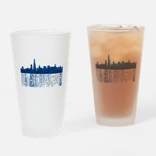 Chicago outline-4-BLUE Drinking Glass
