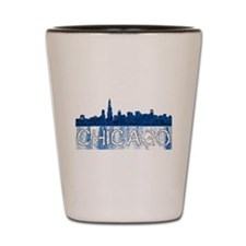Chicago outline-4-BLUE Shot Glass