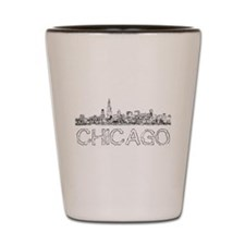 Chicago outline-4 Shot Glass