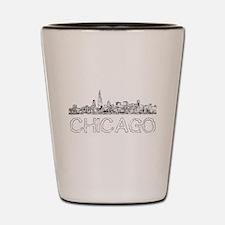 Chicago outline-4 Shot Glass