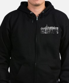 Chicago outline-4 Zipped Hoodie