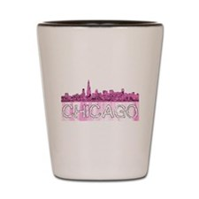 Chicago outline-4-PINK Shot Glass