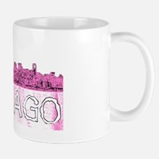 Chicago outline-4-PINK Mugs