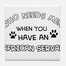african serval designs Tile Coaster