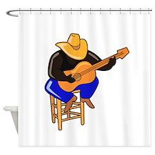 guitar player on stool dark skin Shower Curtain