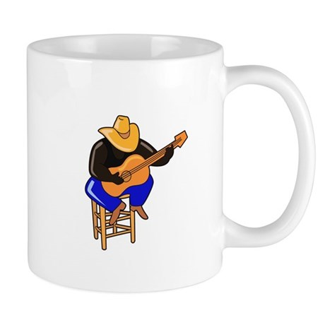 guitar player on stool dark skin Mugs