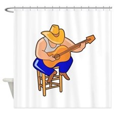 guitar player on stool head down Shower Curtain