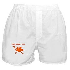 Custom Orange Ostrich Silhouette Boxer Shorts